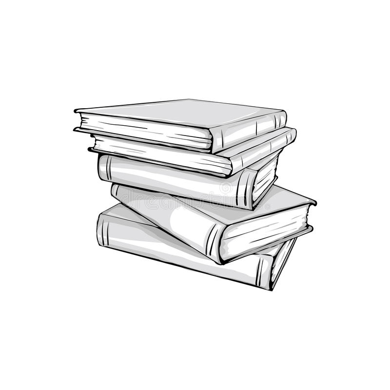 Sketch of a stack books stock vector. Illustration of page ...