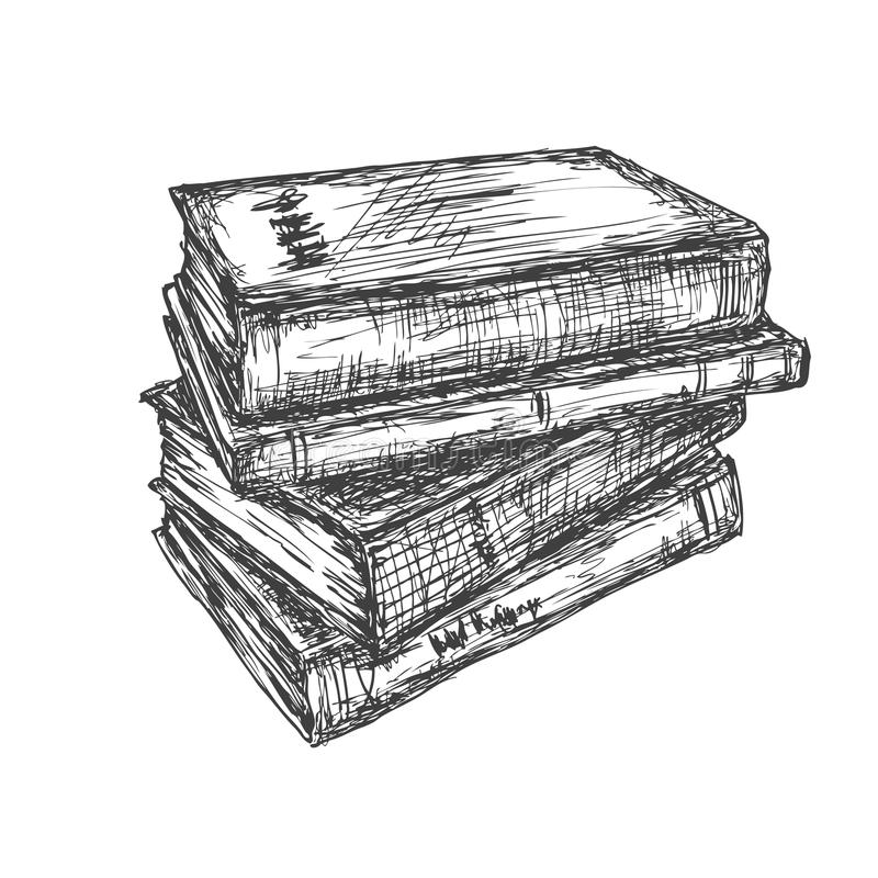 Sketch of a stack books stock illustration. Illustration ...