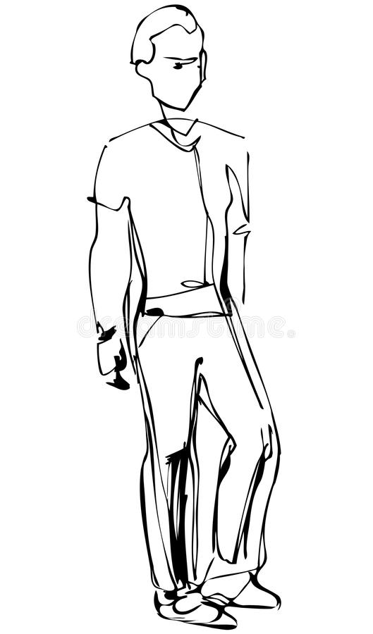 Sketch of standing fellow full length. A sketch of standing fellow full length stock illustration