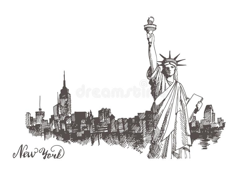 Sketch of the statue of liberty. New York city architecture with Statue of Liberty on front, vector vintage engraved illustration, hand drawn, sketch vector illustration