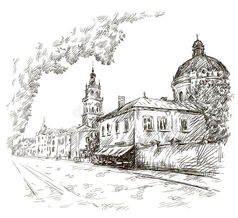 Sketch of a street. Old city. City centre. Europe. Sketch of a street. Old city. City centre. Vector illustration. EPS 10 royalty free illustration