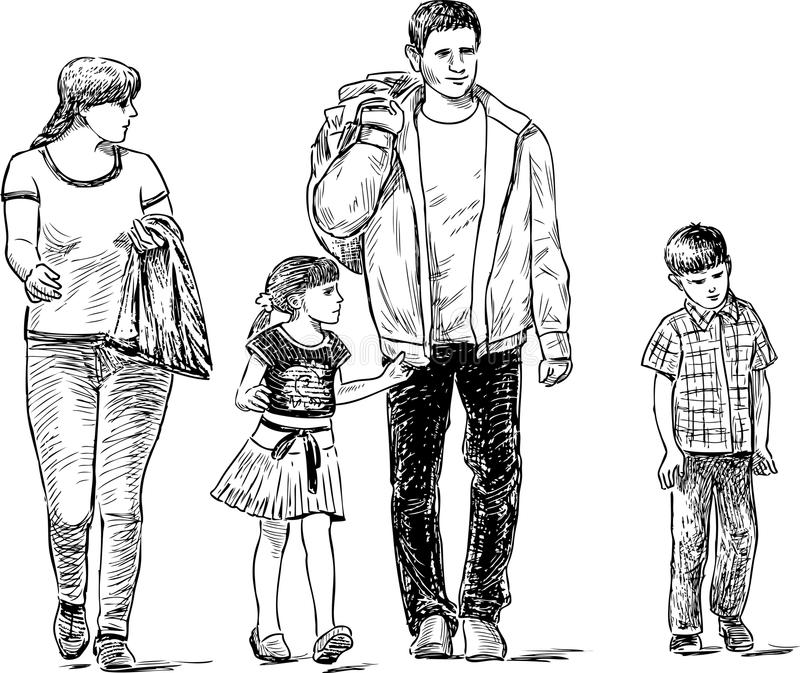Sketch of the strolling family vector illustration