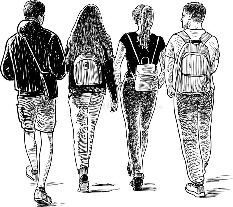 Sketch of the students friends walking down the street vector illustration