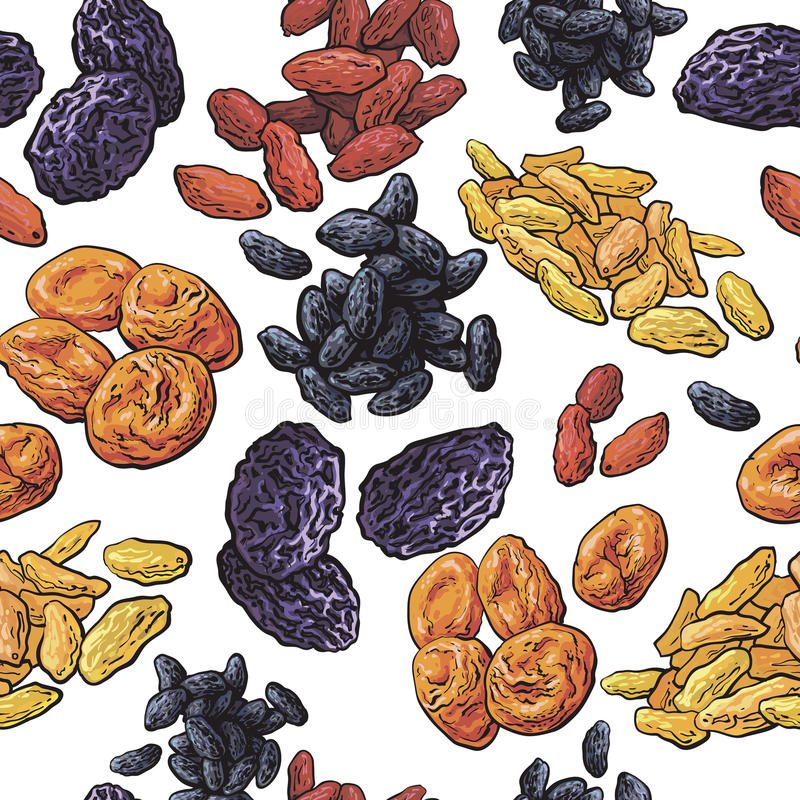 Sketch style dried fruits seamless pattern on white background vector illustration