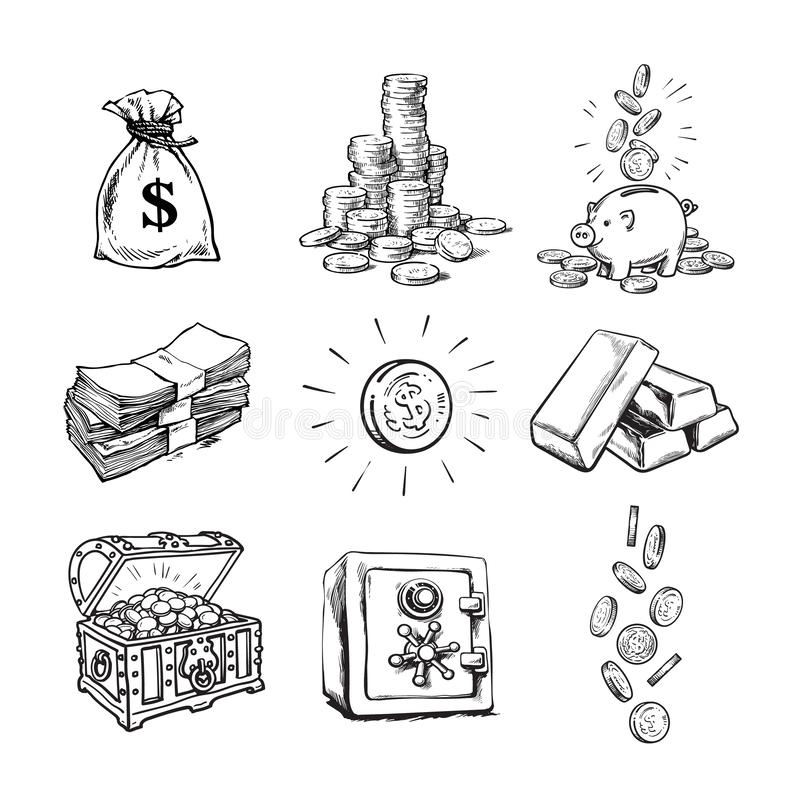 Sketch style finance money set. Sack of dollars, stack of coins, coin with dollar sign, treasure chest, paper money. Falling coins, bank safe, piggy bank, gold stock illustration
