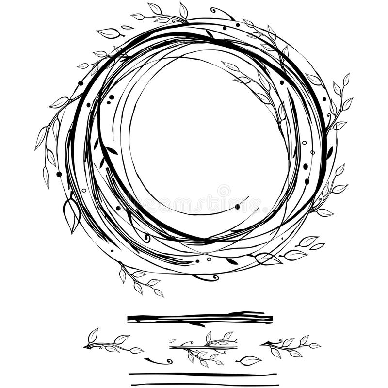 Sketch style nest made of floral branches stock illustration