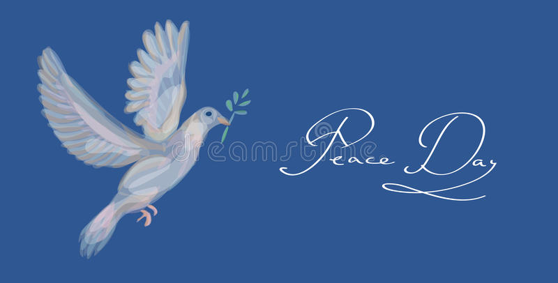 Sketch Style Peace Dove Symbol Blue Background EPS10 File. Stock Images