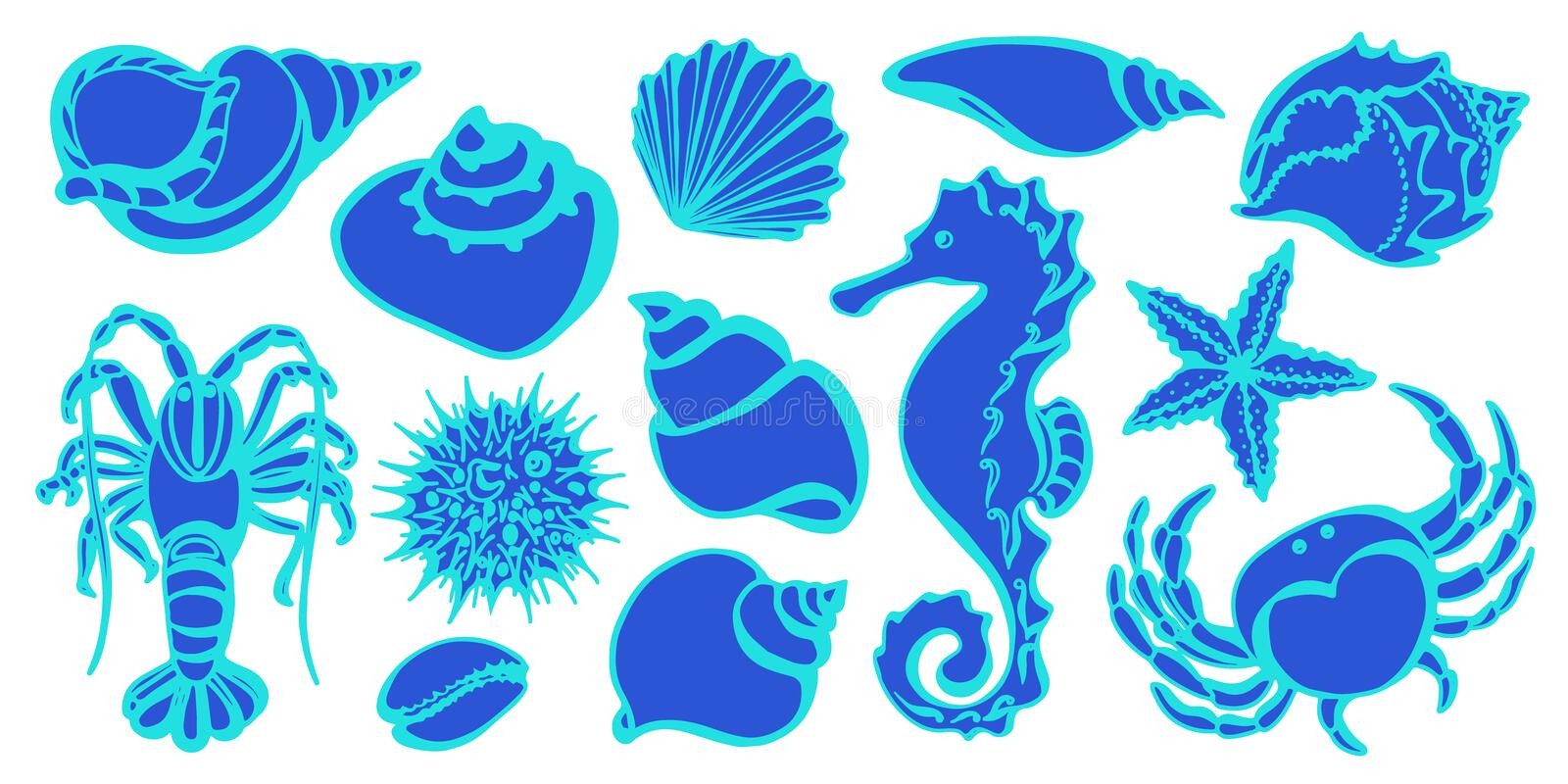 Sketch style vector. Marine collection. stock illustration