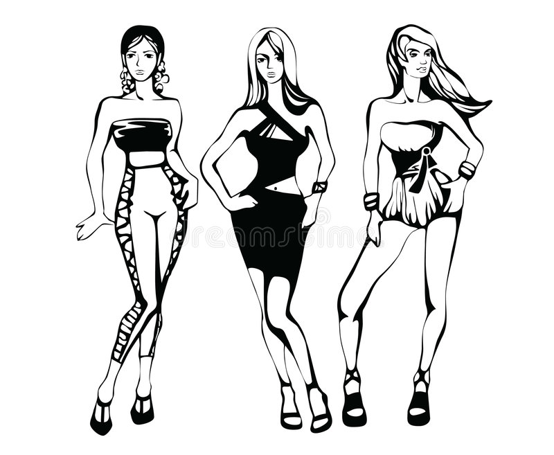 The sketch of a summer female fashion vector illustration