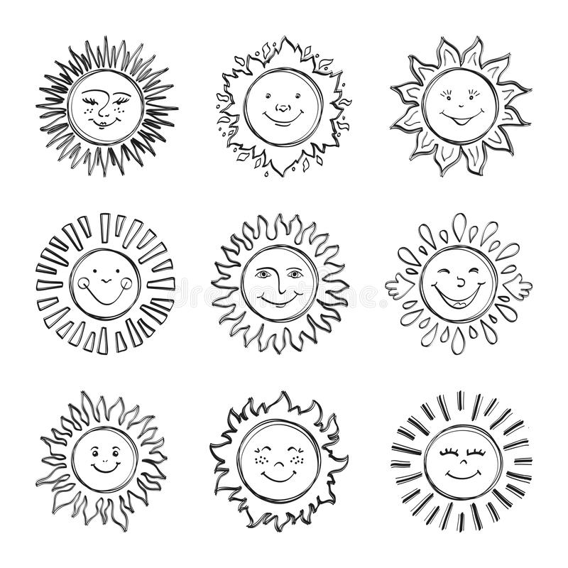 Sketch sun kids drawing, Hand drawn sunshine icons, Doodle suns royalty free illustration