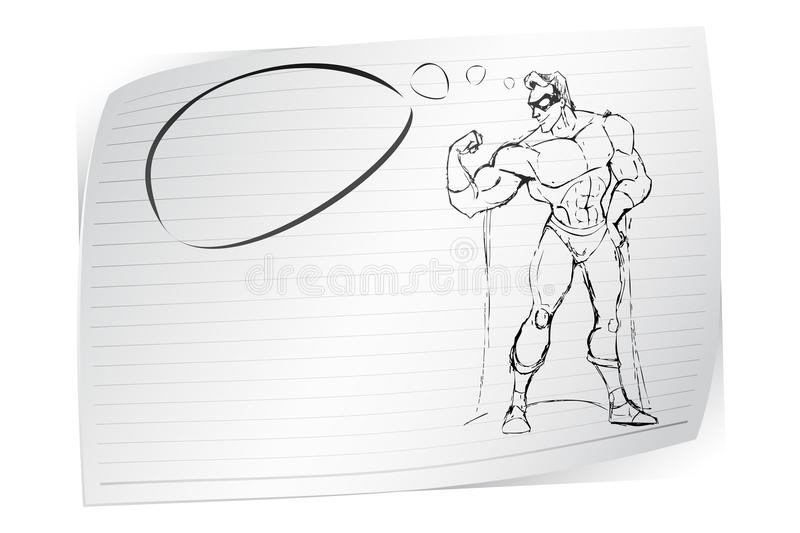 Sketch of Super Hero royalty free illustration