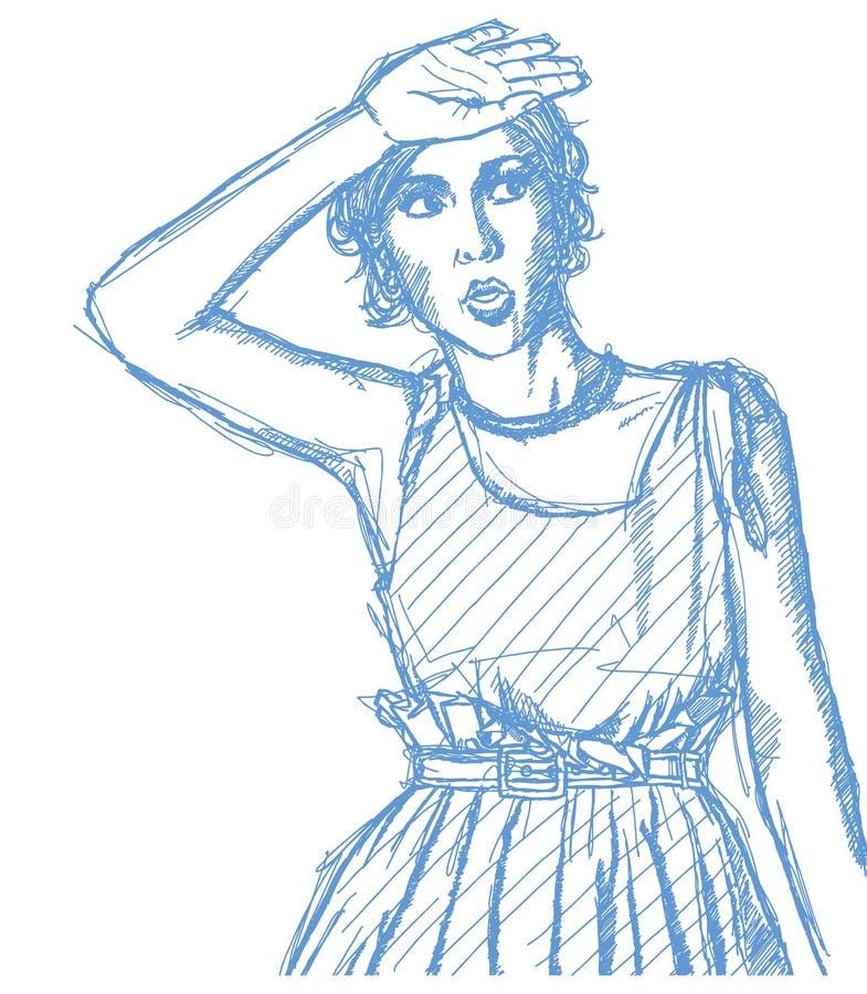 Download Sketch Surprised Girl Stock Image - Image: 26385431