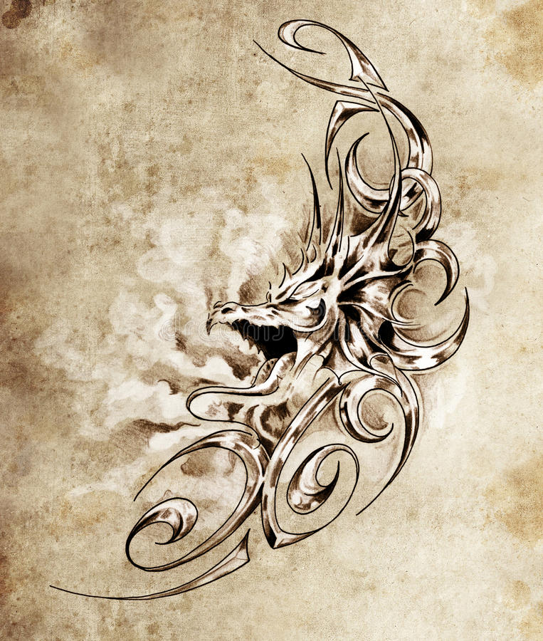 Sketch of tatto art decorative medieval dragon stock for Medieval dragon tattoo