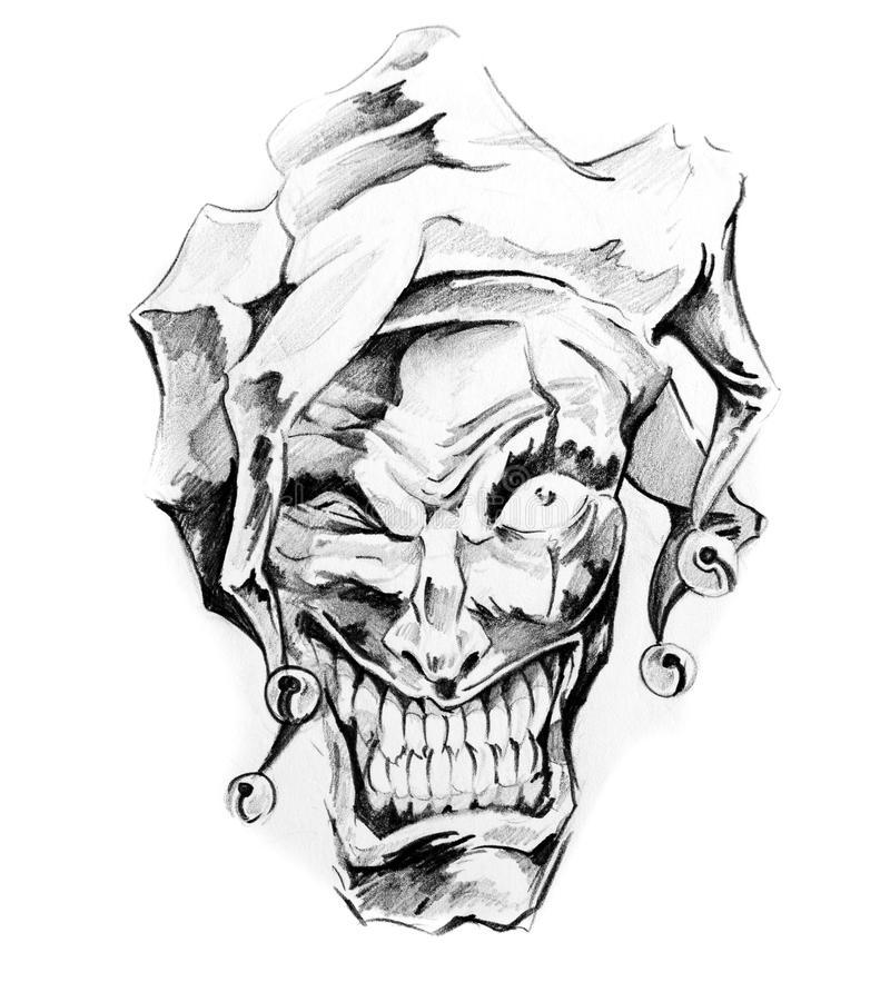 Fantasy Clown Joker Sketch Of Tattoo Stock Illustration Illustration Of Elements Beautiful 24256761
