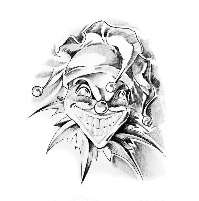 Sketch of tattoo art, clown joker royalty free illustration