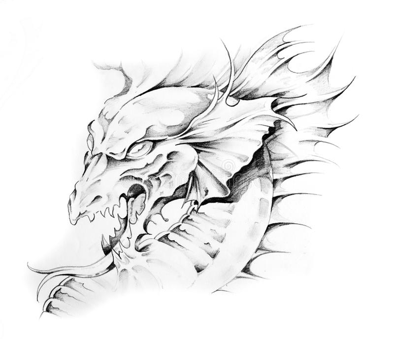 Download Sketch Of Tattoo Art, Dragon Stock Illustration - Image: 17129056