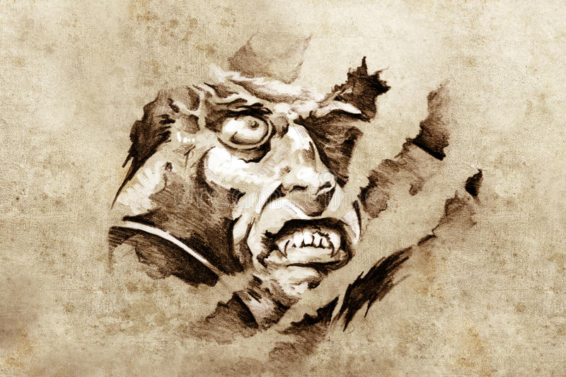 Download Sketch Of Tattoo Art, Vampire In The Night Stock Photo - Image: 23956150