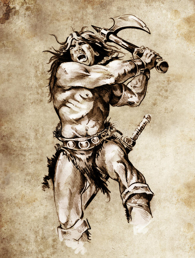 Sketch Of Tattoo Art, Warrior Fighting Royalty Free Stock Photo