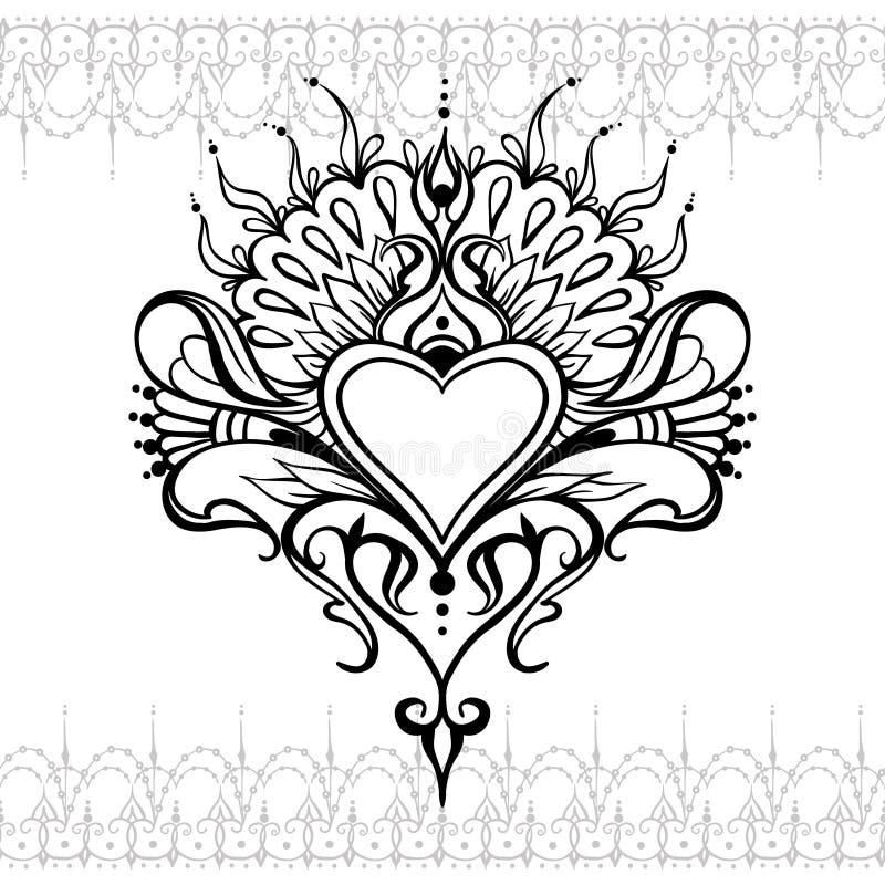 Sketch of tattoo henna heart royalty free illustration