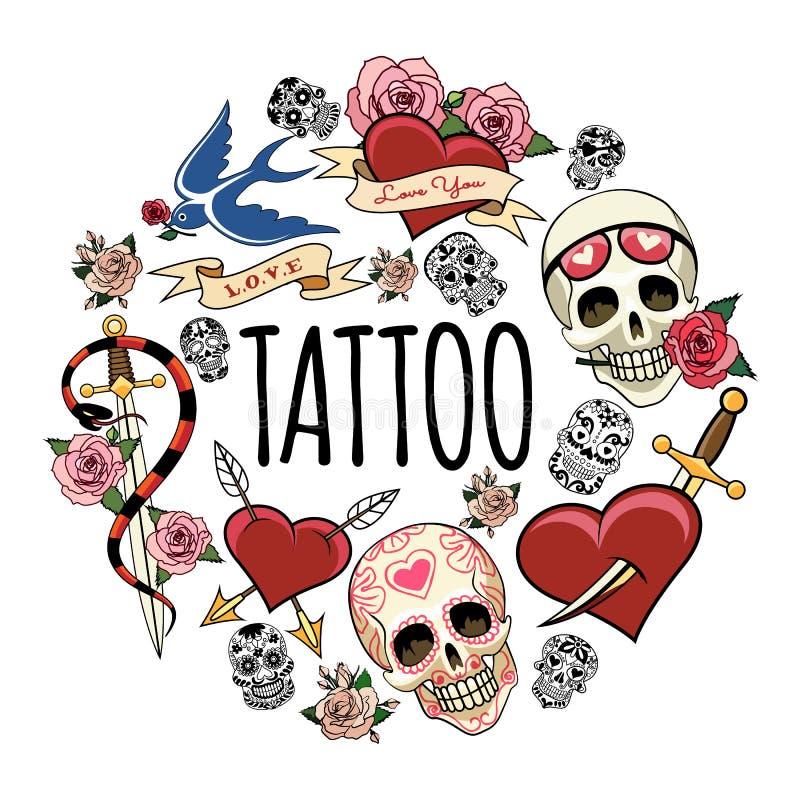 Sketch Tattoo Symbols Round Concept vector illustration