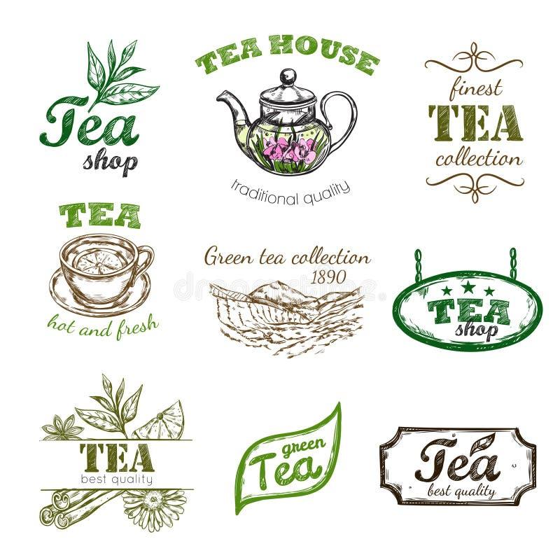 Sketch Tea Logo Set royalty free illustration