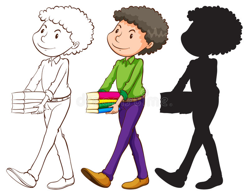 A sketch of a teacher in three colours royalty free illustration