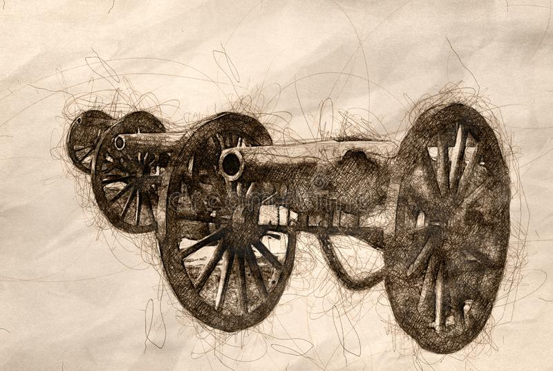 Sketch of Three American Civil War Cannon. Standing Side by Side stock illustration