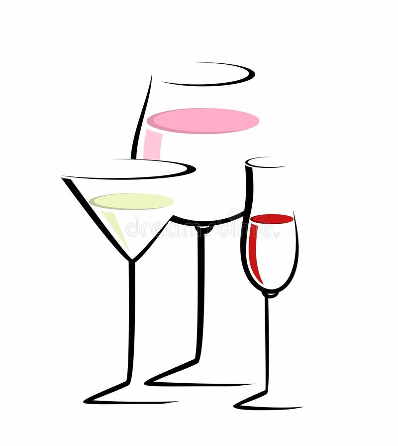 Sketch of three cocktail glasses royalty free illustration