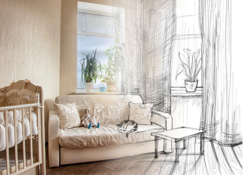 From sketch to the room. Hand-drawing sketch of bedroom interior plus photo of real interior