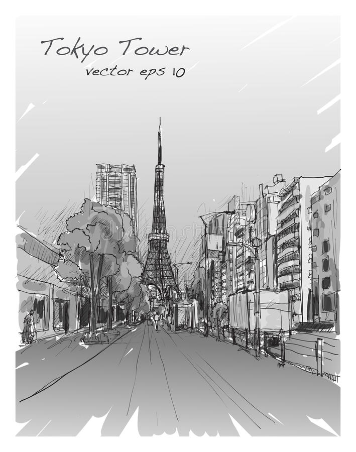 Sketch of Tokyo Tower with cityscape and walkstreet, free hand royalty free illustration