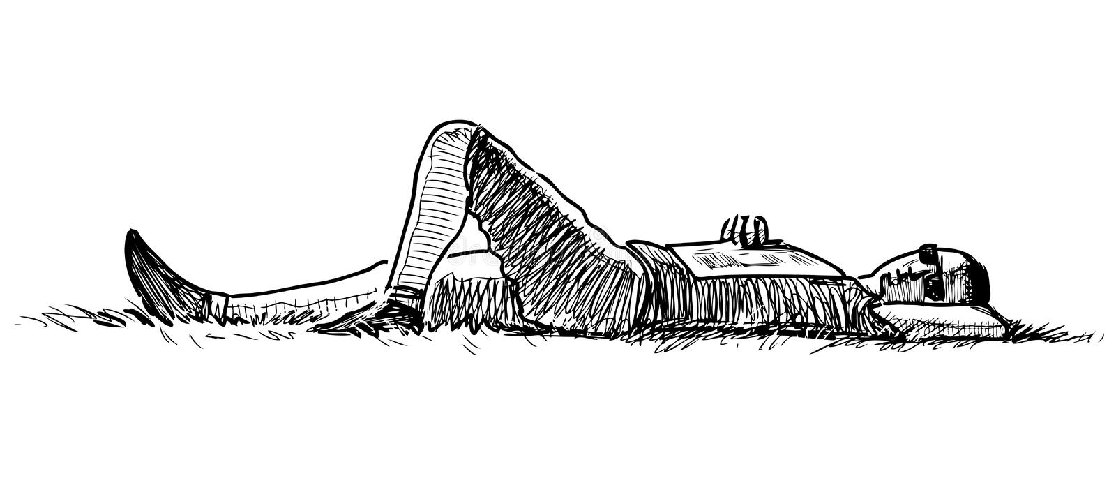Sketch of a townsman resting on the grass. Vector drawing of a guy sleeping on the lawn royalty free illustration