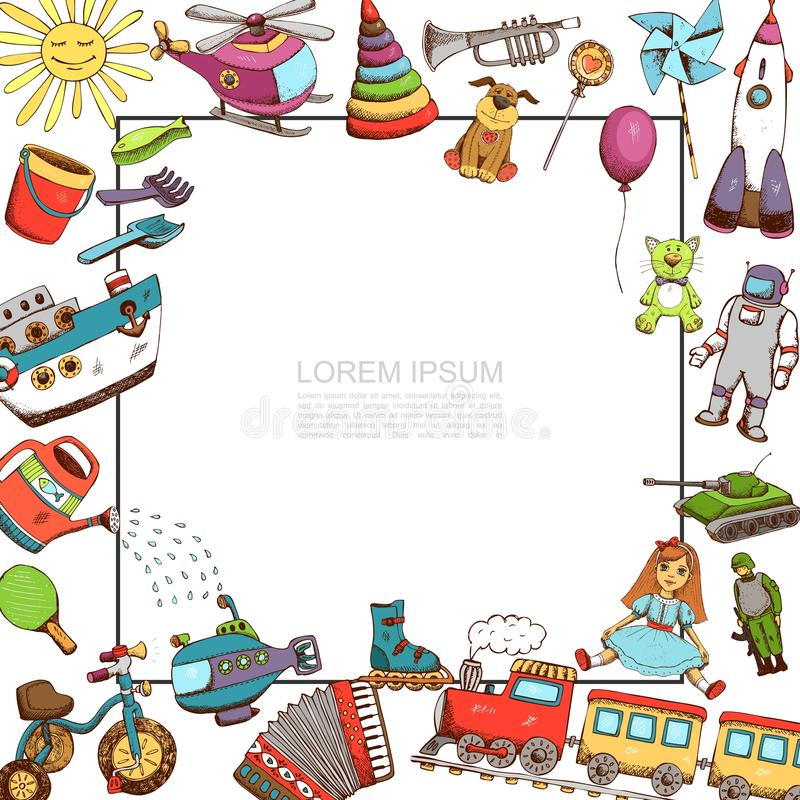 Sketch Toys Template. With frame for text helicopter ship bicycle train submarine doll tank trumpet accordion pyramid rocket robot sun watering can vector stock illustration