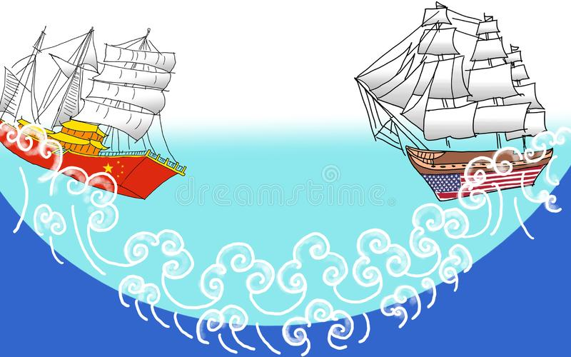 Sketch of Trade war China vs America with barque vector illustration