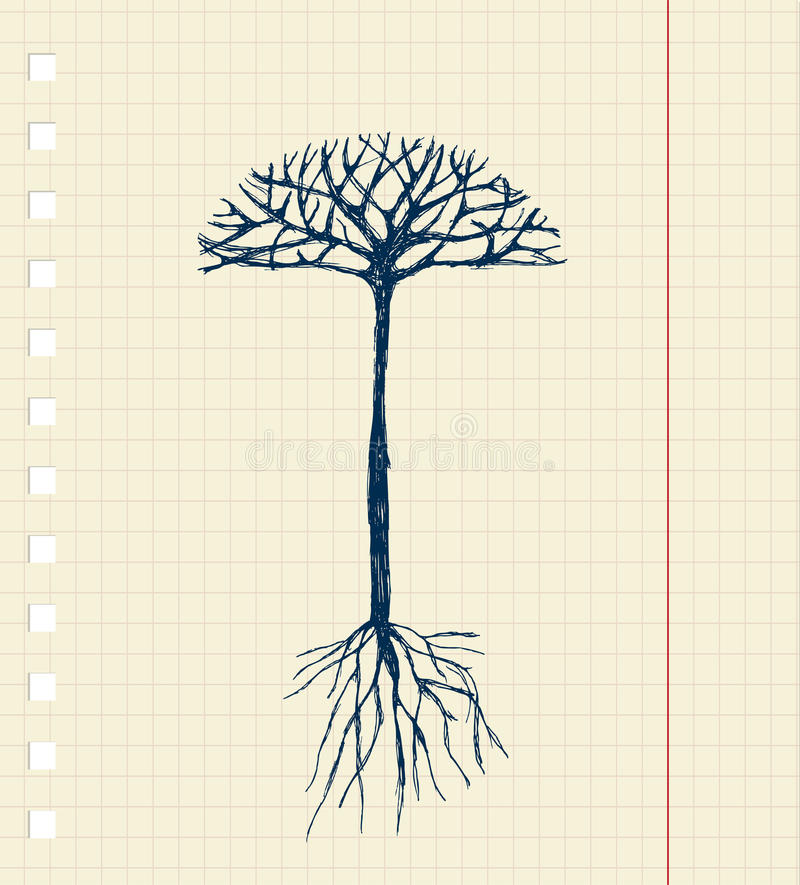 Sketch tree with roots for your design royalty free illustration