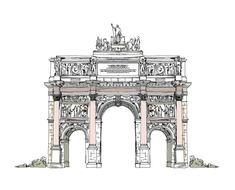 Sketch of Triumph Arch in Paris royalty free illustration