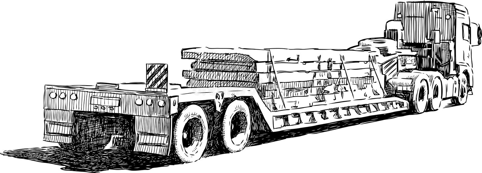 The Sketch Of The Truck Transporting Construction Materials Stock ...