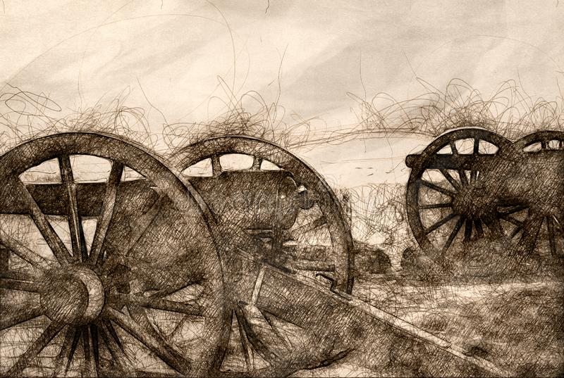 Sketch of Two American Civil War Cannon. Standing Side by Side stock illustration