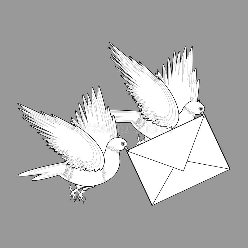 A sketch of two flying doves with a letter. Vector-art illustration on a grey background stock illustration