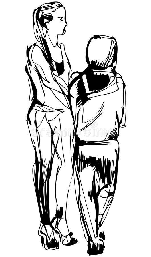 Sketch Two Girls In Pantaloons Cost Communicate Stock Images