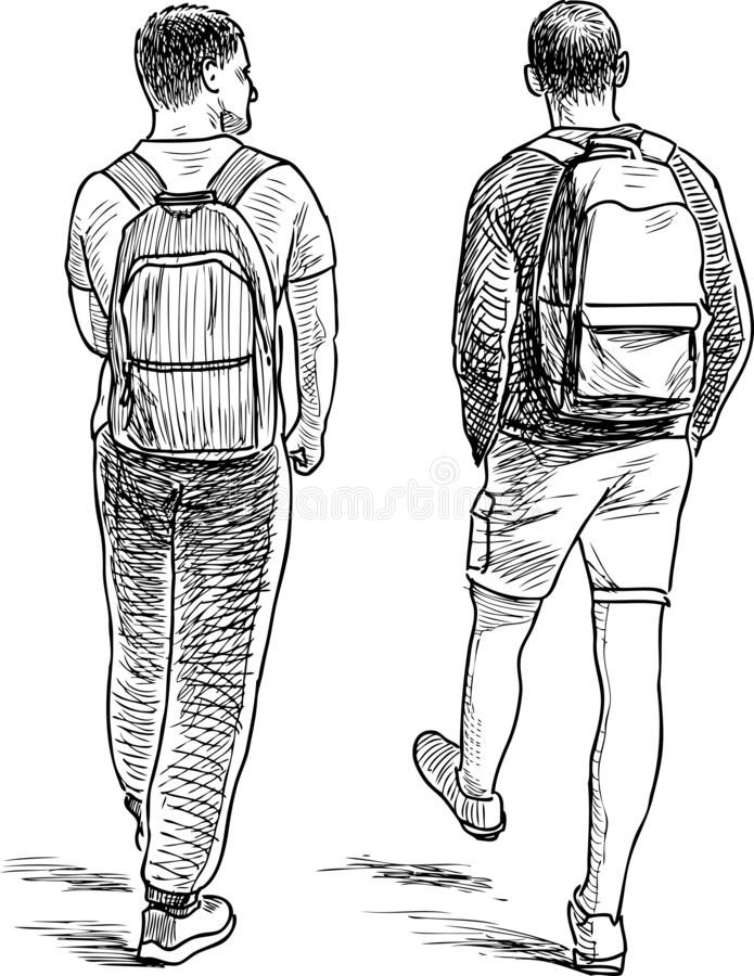 Sketch of two students walking down the street. Hand drawing of students friends going on a stroll stock illustration