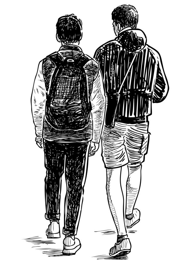 Sketch of two teens students going down the street. Hand drawing of the students friends walking on a stroll royalty free illustration