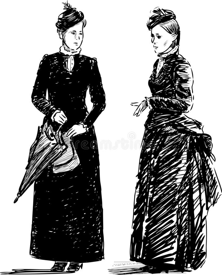 Sketch of two women in theatrical vintage costumes royalty free illustration
