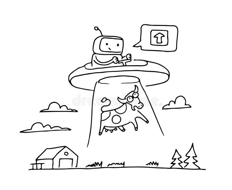 Sketch UFO steal a cow. Robot alien character. 404 error not page. On flying saucer. Hand drawn black line vector stock illustration