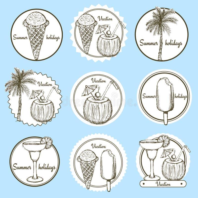 Sketch vacation logos vector illustration