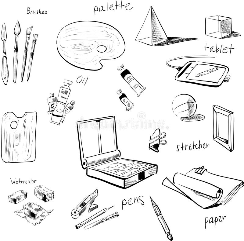 Sketch Vector Set Of Art Materials Stock Vector - Illustration Of Craft Circuit 62678219