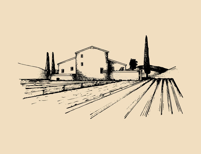 Sketch of villa, peasants house in fields. Vector rural landscape illustration. Hand drawn mediterranean homestead. Sketch of villa, peasants house in fields vector illustration