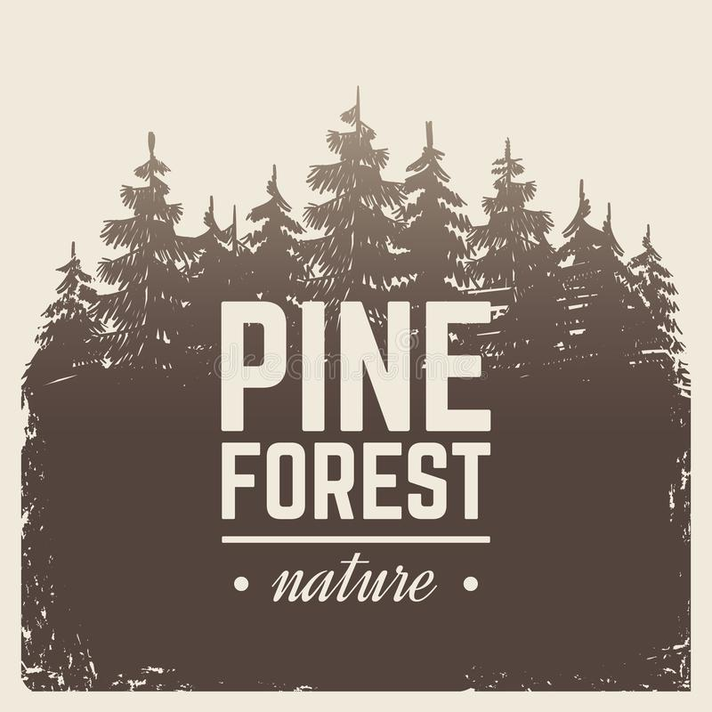 Sketch vintage nature pine and fir tree forest in misty fog cartoon scene vector retro poster with silhouette trees vector illustration