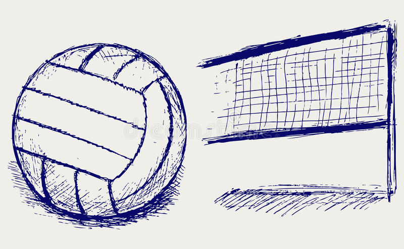 Sketch Volleyball Stock Vector. Illustration Of Abstract