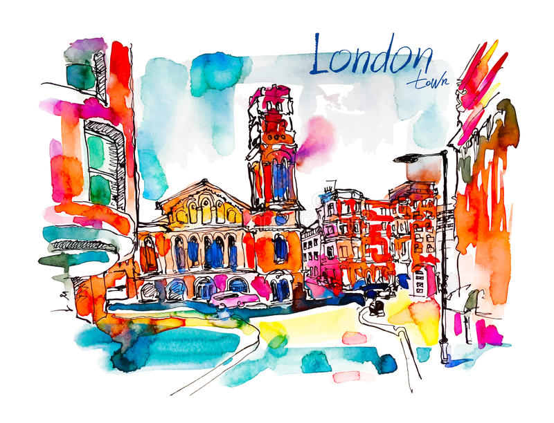 Sketch watercolor painting of London street with church and hand stock illustration