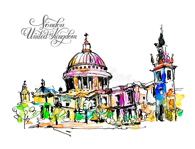 Sketch watercolor painting of London top view stock illustration